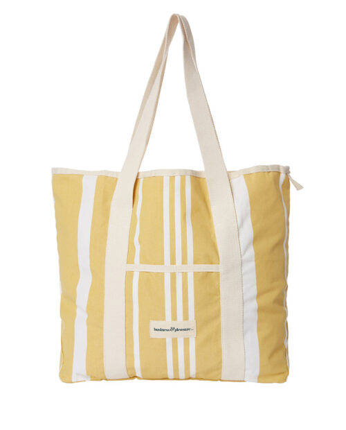 Business and Pleasure Strandtasche Beach Bag vintage yellow Stripes